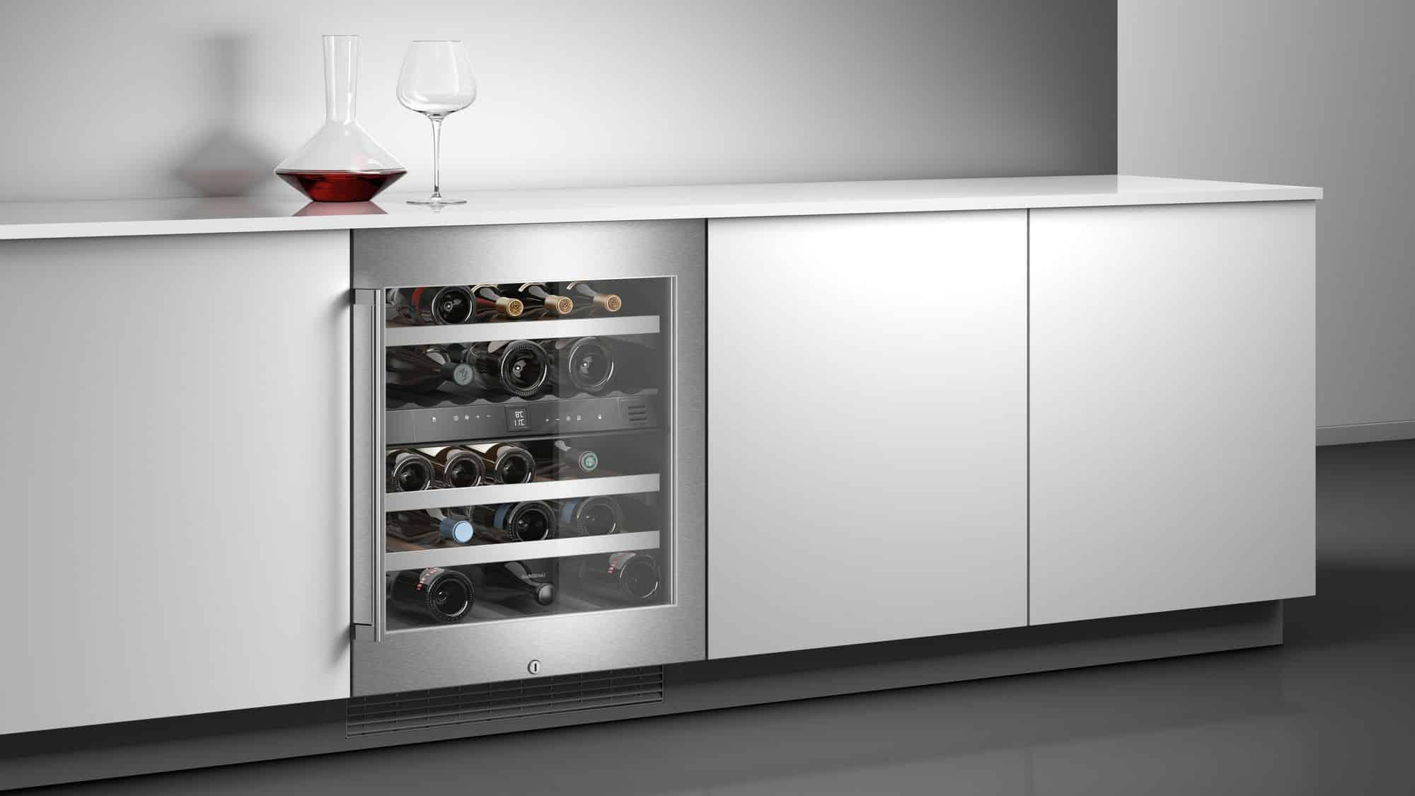 Răcitor de vinuri cu front din sticlă și ramă din oțel inoxidabil